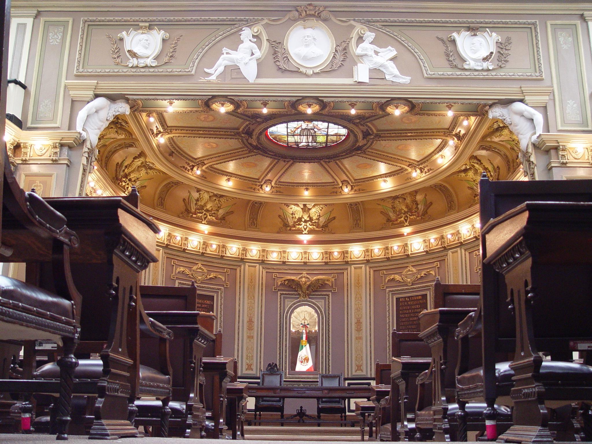 interior del edificio del Congreso del Estado de Hidalgo
