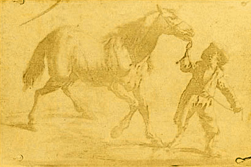 This photograph, the oldest known in the world, represent a Dutch engraving showing a man leading a horse. It was made by the French inventor Nicéphore Niépce in 1825.